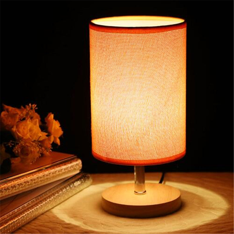 Fabric Linen Wooden Table Lamp with Modern Accents