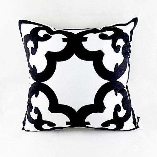 Sophisticated Black/White Flower Pillow