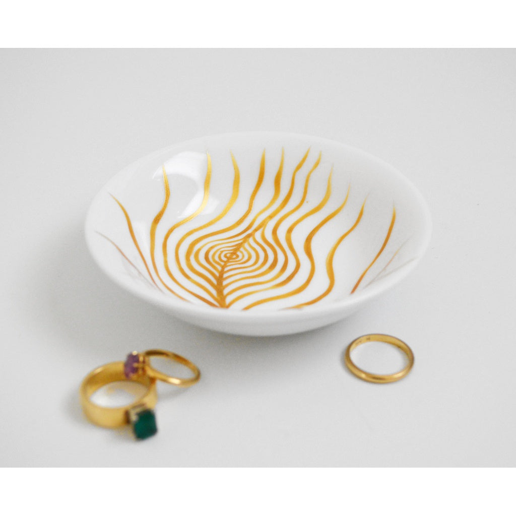 CUSTOMIZABLE Gold Peacock Feather Jewelry Dish
