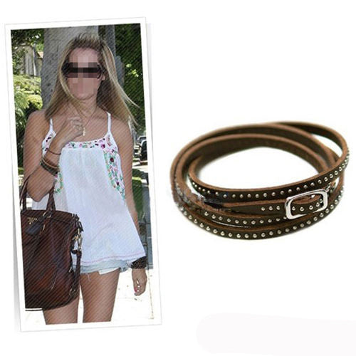 Retro Vintage Leather Studded Wrap Bracelet