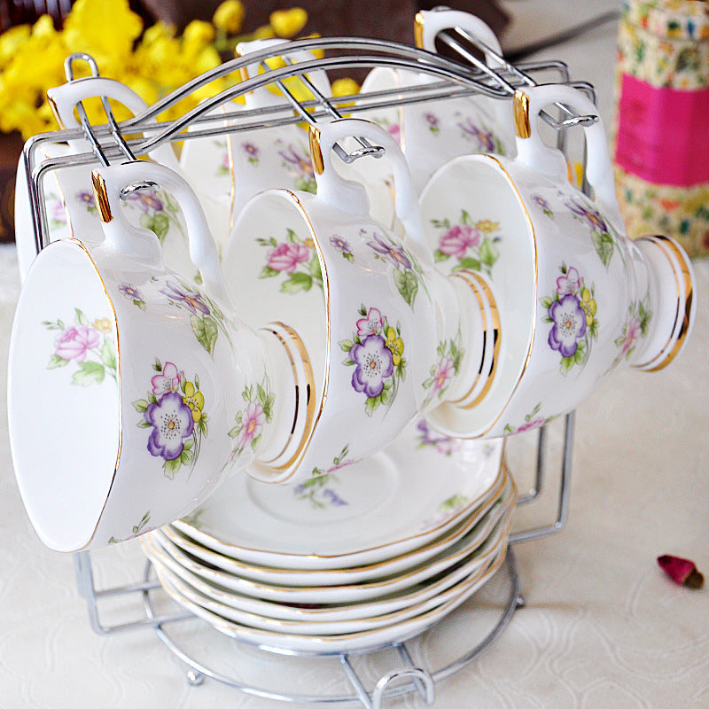 Polka Dot/Floral Bone China Afternoon Tea Cup and Saucer