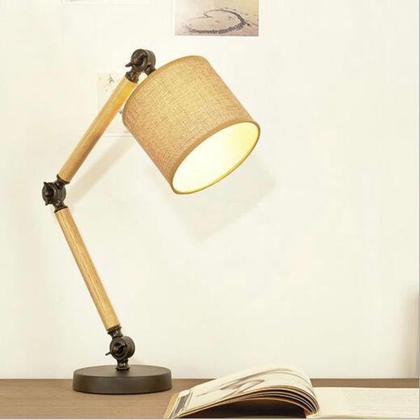 Energy Saving Fabric & Wood Desk Lamp