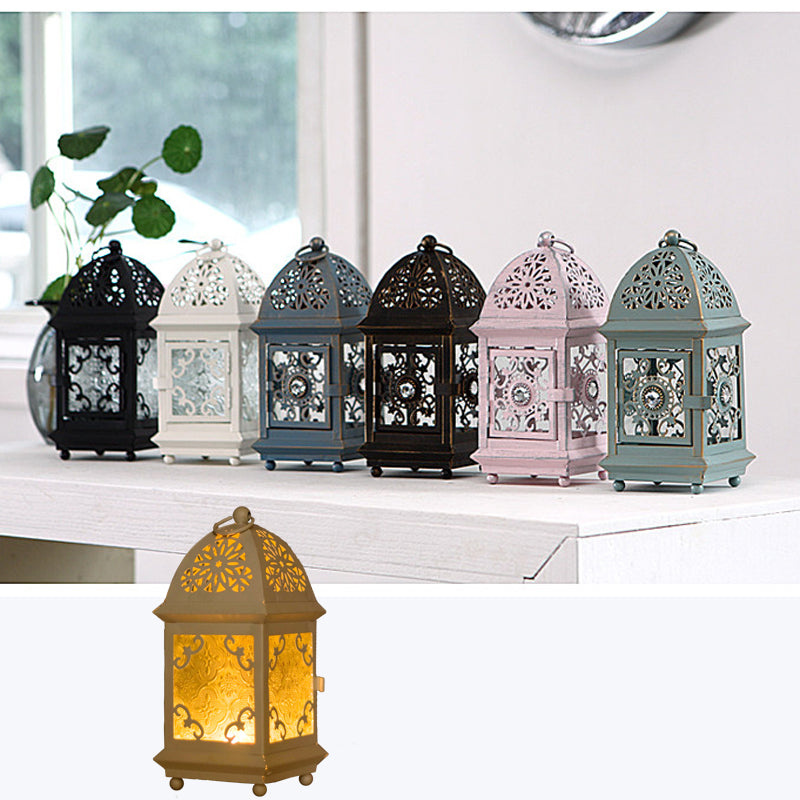 Moroccan Glass Lantern w/Tea Light Holder