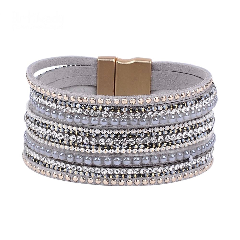 "Luxury Crystal/Genuine Leather ""Magic Clasp"" Cuff/Bracelet"