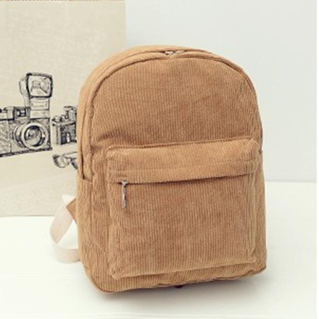 Corduroy Solid Backpack-Shop My Aesthetic