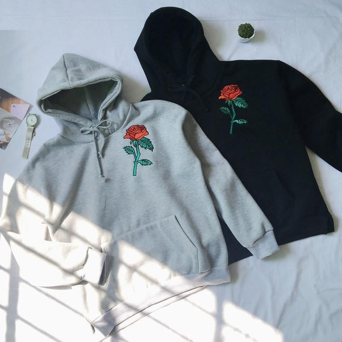 EMBROIDERY RED ROSE HOODIE-Shop My Aesthetic