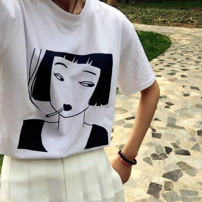 HARAJUKU SMOKING GIRL T-SHIRT-Shop My Aesthetic