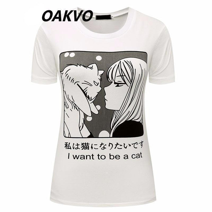 I WANT TO BE A CAT MANGA T-SHIRT-Shop My Aesthetic