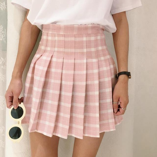 Japanese Style Plaid High Waist Short Female Skirts