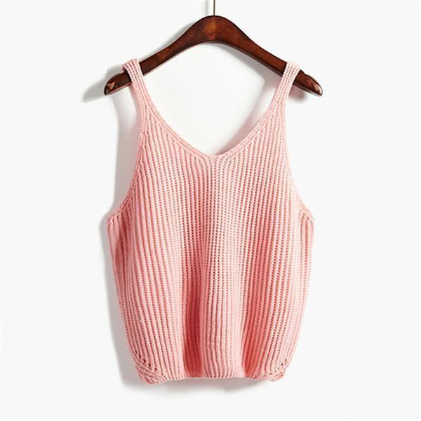 K-Pop Style Sleeveless Pastel Sweater Vests