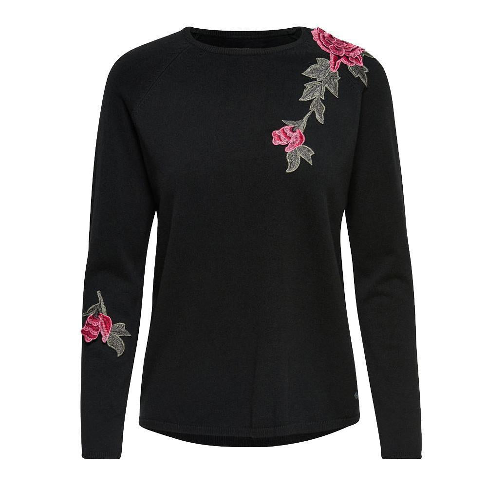 Long Sleeve Rose Knitted Sweater