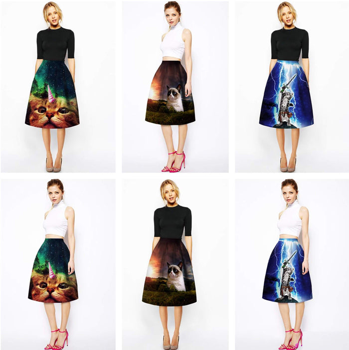 Pleated Art Print Knee Length Skirts