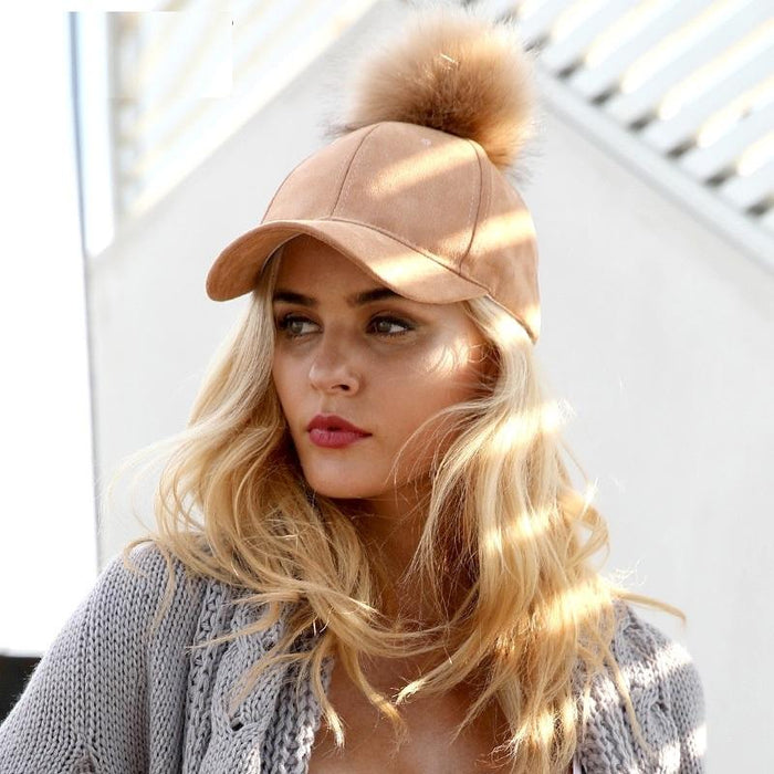 POMPOM SUEDE STYLISH CAP-Shop My Aesthetic