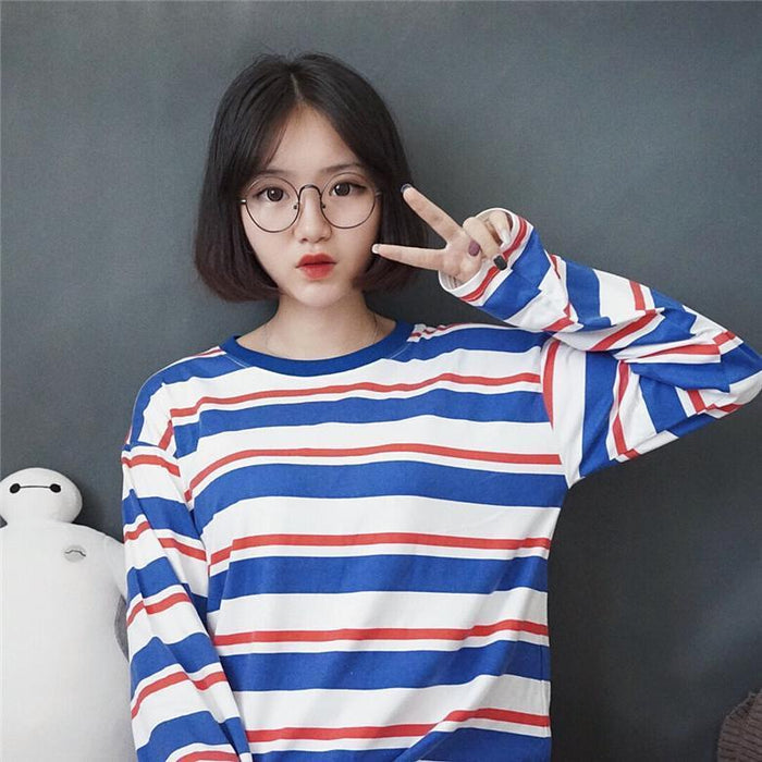 Red White And Blue Striped Top