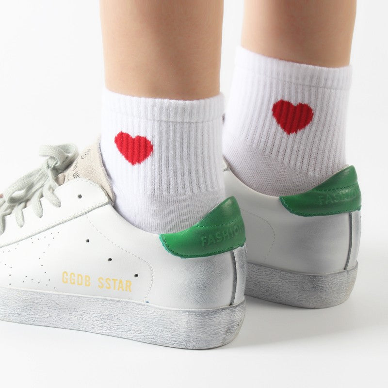 Red Heart Cute College Fashion Socks