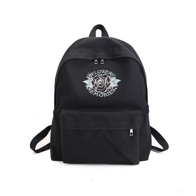 Rose Embroidery Backpacks-Shop My Aesthetic