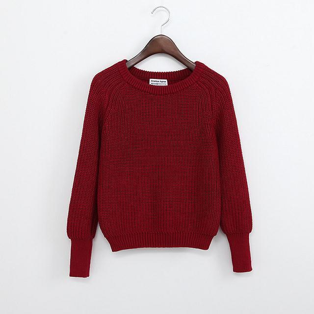 SOLID COLOR CASUAL SWEATER-Shop My Aesthetic