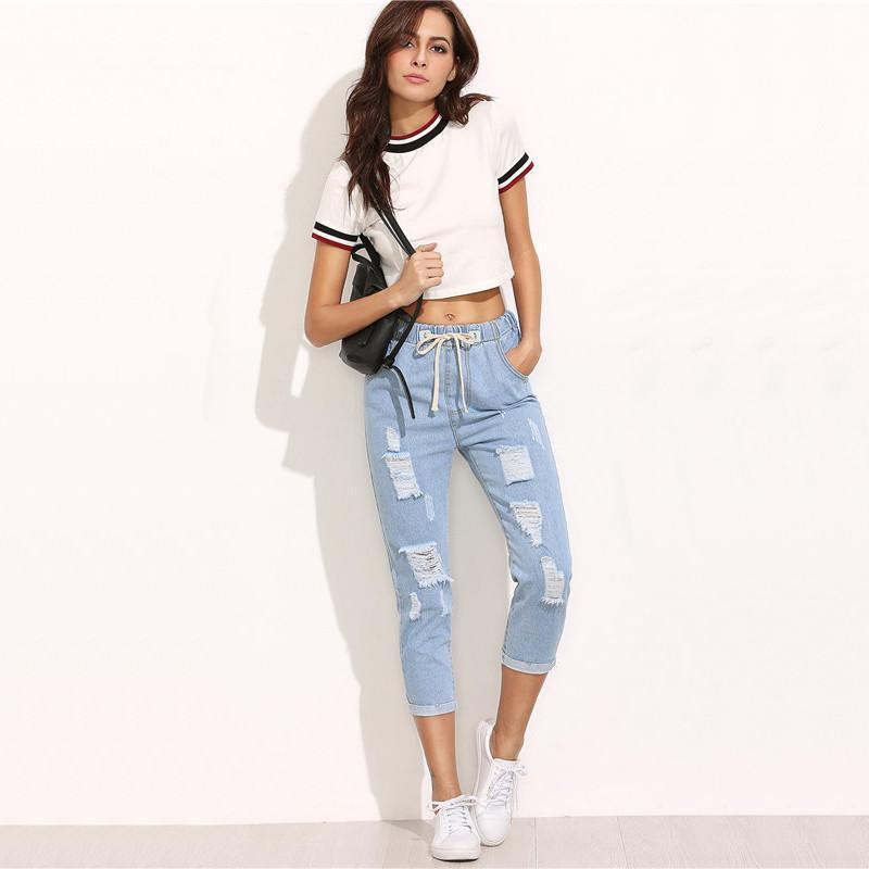SUMMER BLUE RIPPED JEANS-Shop My Aesthetic