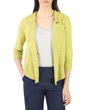 Ribbed Notched Lapel Cotton Blend Cardigan