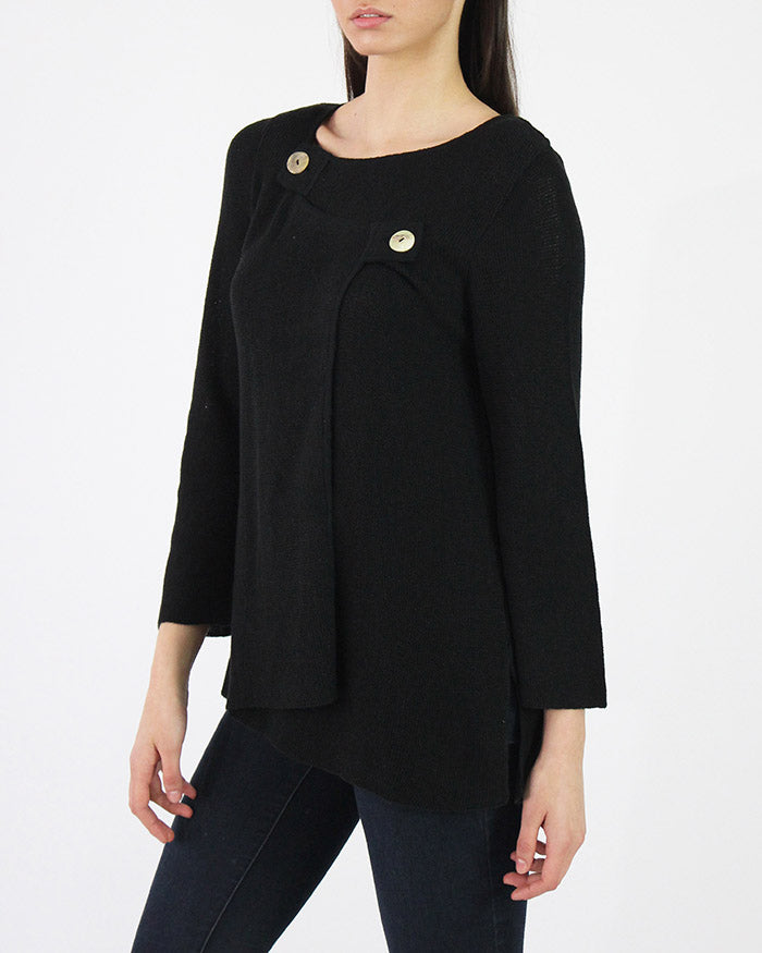Two-Tab Pima Cotton Blend Sweater