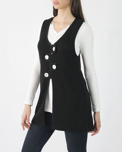 Tabs Knit Cotton Blend Vest with Agoya Shell Buttons