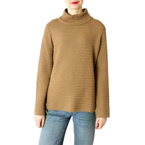 Zip Back Alpaca Mock Neck Pullover Sweater