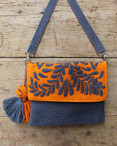 Begonia Embroidered Wool Handbag