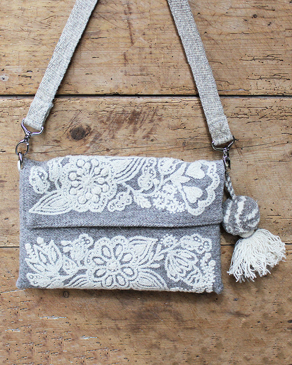 Carnation Embroidered Wool Handbag