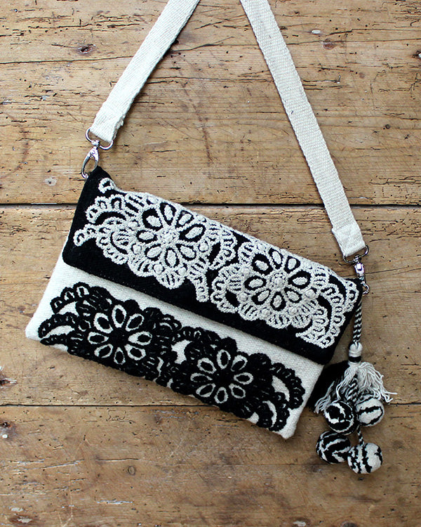 Dahlia Embroidered Wool Handbag