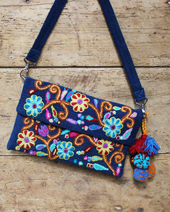 Marigold Embroidered Wool Handbag