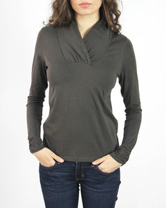 Pima Cotton Ruche Collar Long Sleeve Tee
