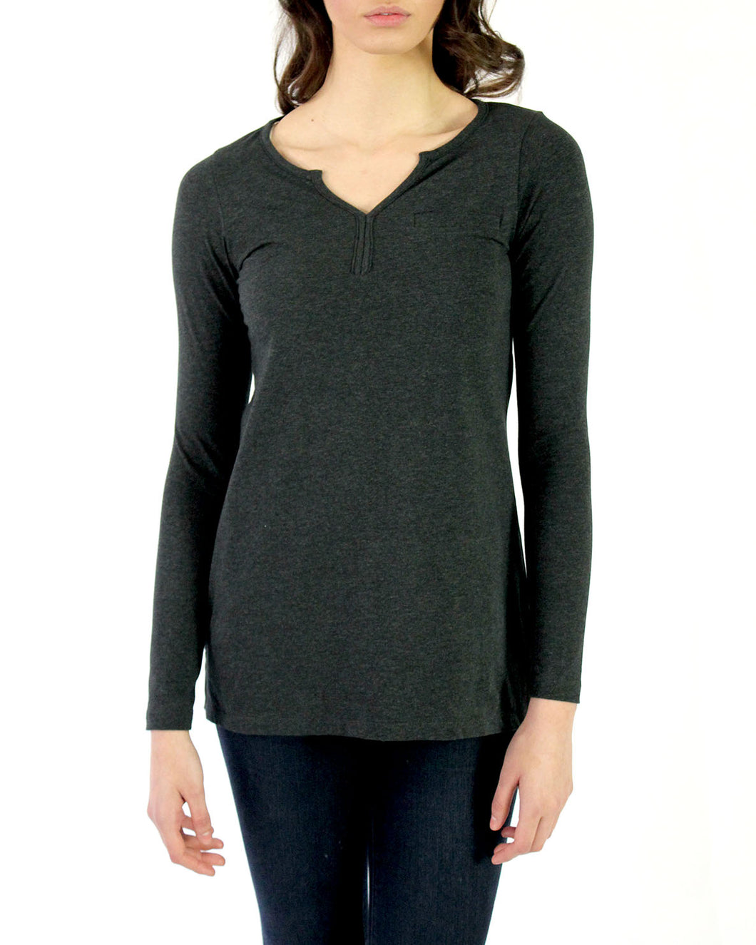 Pima Cotton Long Sleeve Henley Tee