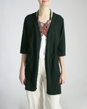 Spider Web Pima Cotton One-Button Cardigan