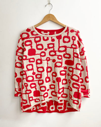 Miró Jacquard Pima Cotton Reversible Pullover Sweater