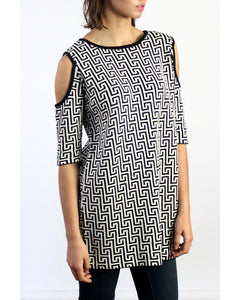 Labyrinth Print Open Shoulder Peekaboo Cotton Tunic