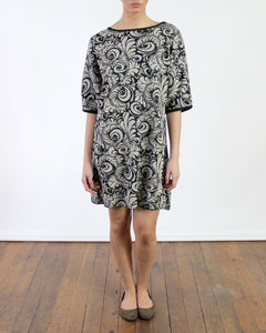 Botanical Jacquard Baby Alpaca Shift Dress