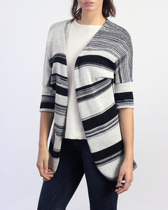 Chromatic Reversible Knit Striped Duster