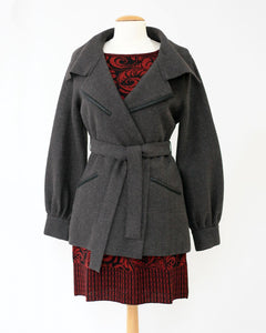 Eva Felted Alpaca Belted Jacket with Leather Detail