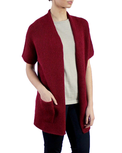 Essential Plush Baby Alpaca Cardigan in Scarlet
