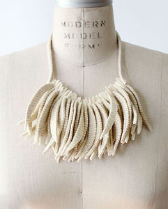 Flecos Fringe Recycled Textile Necklace in Ivory