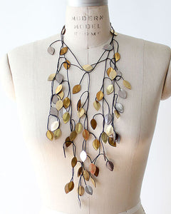 Vine Recycled Textile Necklace in Multi