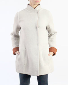 Reversible Asymmetric Alpaca Coat in Discontinued Colors