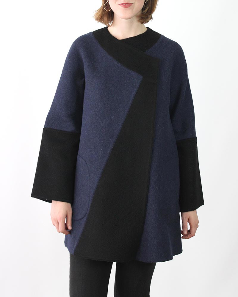 Reversible Diagonal Alpaca Coat in Plus Size