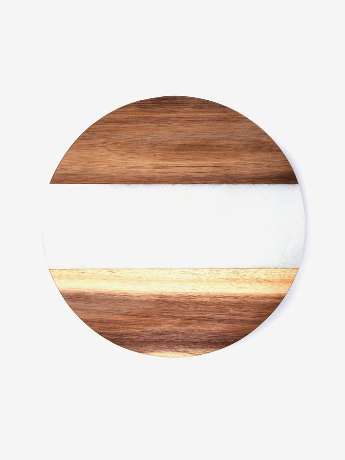 Cutting Board in White Marble and Wood