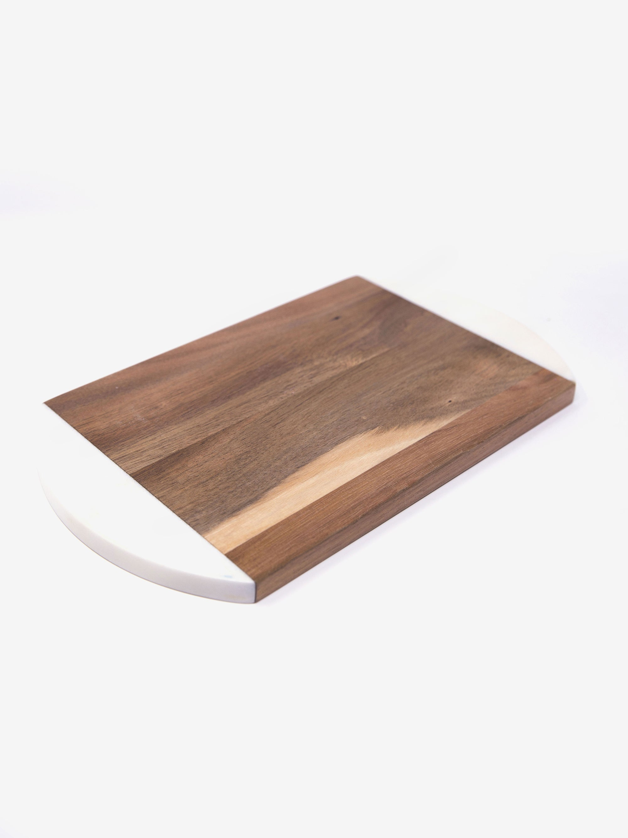 Cutting Board in White Marble and Acacia Wood
