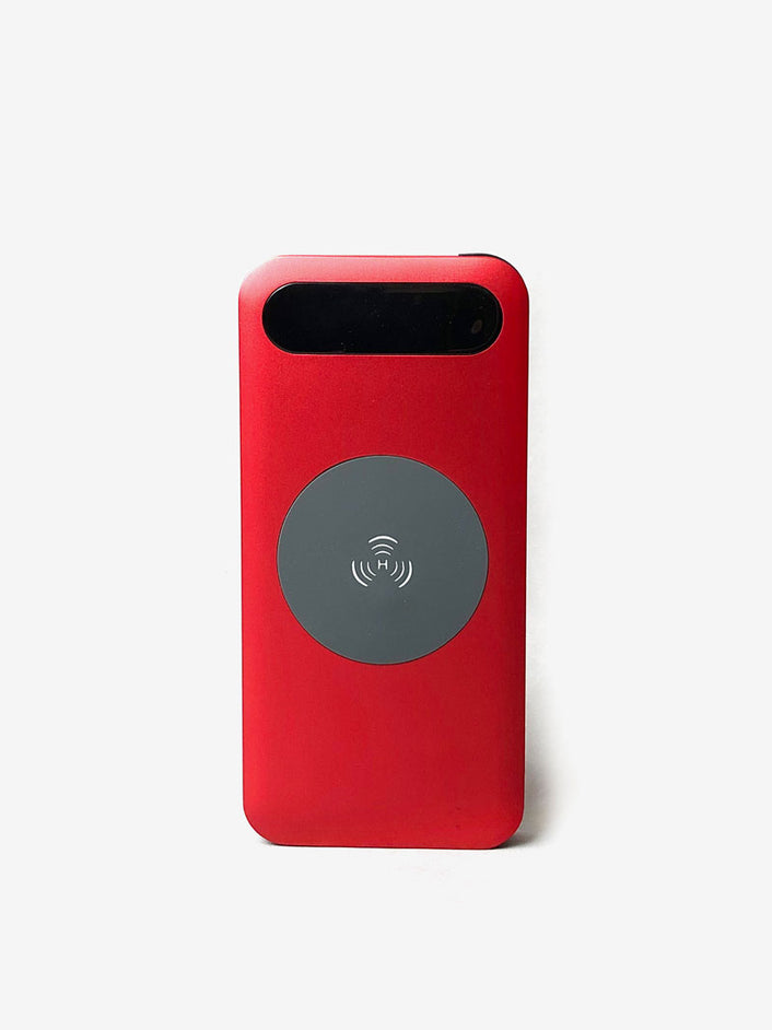 3-in-1 Wireless Charging Power Bank with Built-in USB Cables in Red