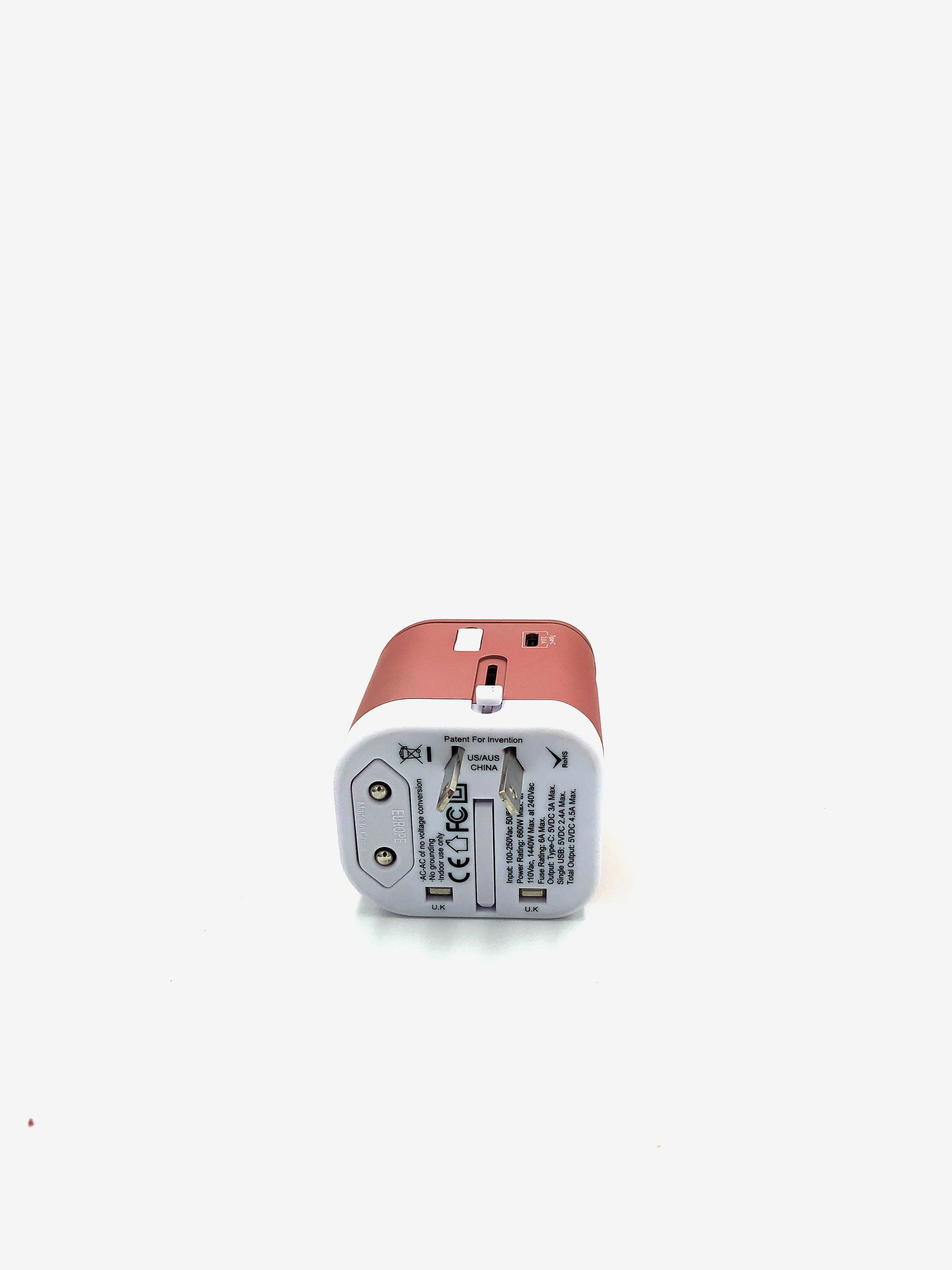 Universal Travel Adapter in Rose Gold