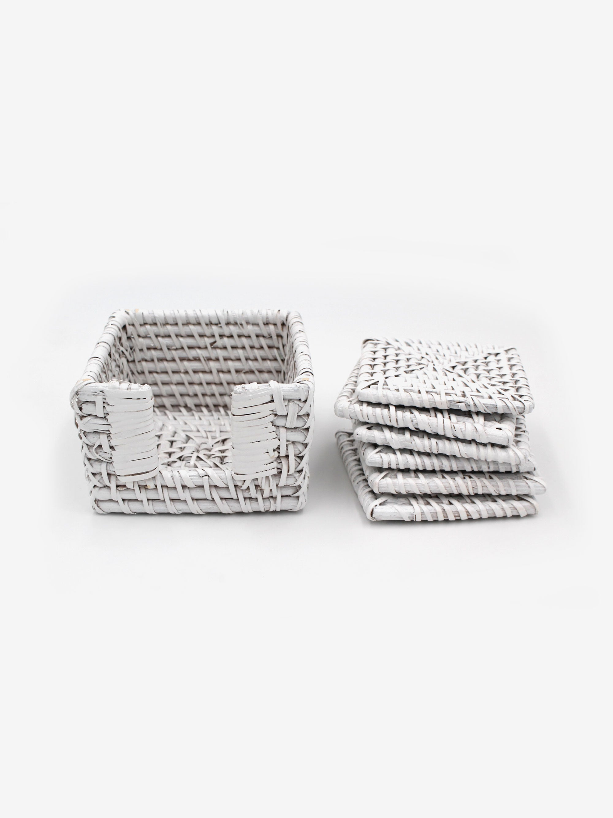 Square Rattan Coasters in White (Set of 6)