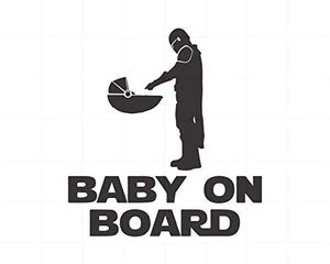 Mandalorian Baby on Board Silhouette Decal Sticker