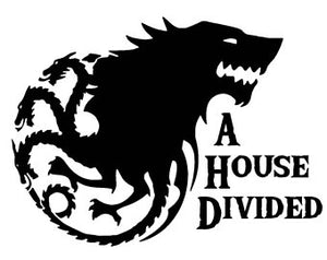 A House Divided Game of Thrones Vinyl Decal Sticker